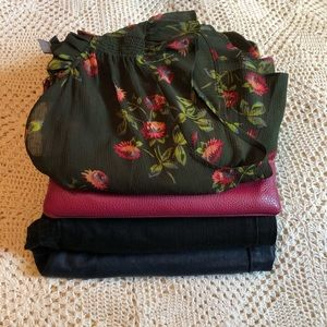 4 piece bundle of jeans, top, and purse